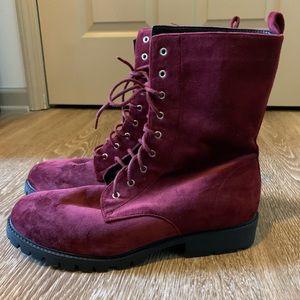 Shoes - Velvet Textured Combat Boots